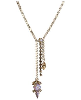 Naomie Y-shaped necklace with iridescent crystals SATELLITE