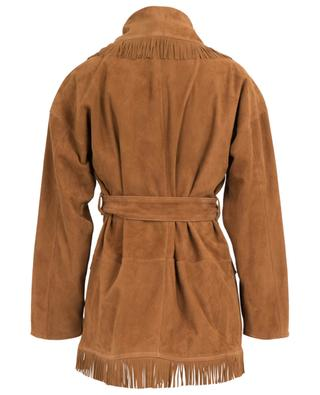 Open suede jacket with belt and fringes ALANUI