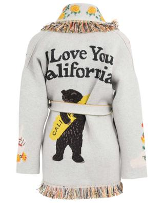I Love U California cashmere cardigan with belt and fringes ALANUI