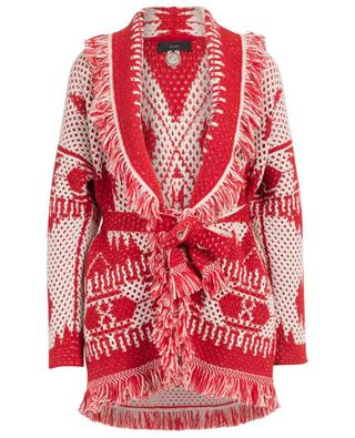 Cashmere, wool and silk thick net cardigan with belt and fringes ALANUI