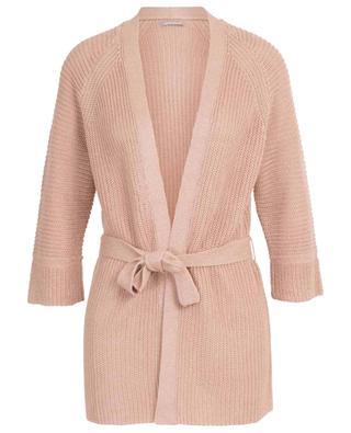 Belted rib knit linen cardigan HEMISPHERE