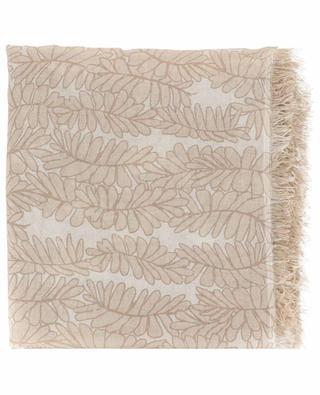 TLEAVES lightweight shawl with leaf print HEMISPHERE