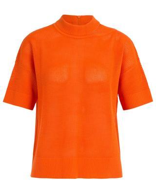 T-Shirt aus Wolle in Lochstrikoptik AKRIS PUNTO
