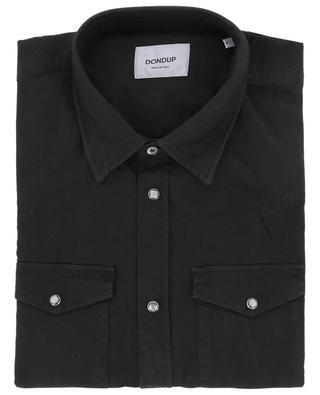 Long-sleeved monochrome cotton stretch shirt DONDUP