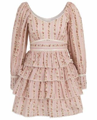 Minikleid aus Baumwolle mit Blumenprint und Rüschen Astor LOVESHACKFANCY