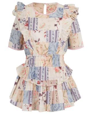 Natasha ruffled and floral print cotton mini dress LOVESHACKFANCY