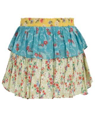 Floral print ruffled cotton mini skirt LOVESHACKFANCY
