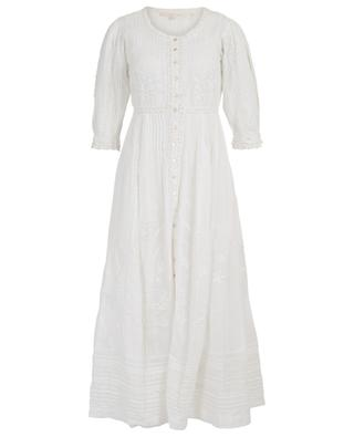 Longue robe en coton brodé de fleurs et dentelle London LOVESHACKFANCY