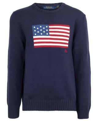 Rundhalspullover aus Baumwolle mit amerikanischer Flagge POLO RALPH LAUREN