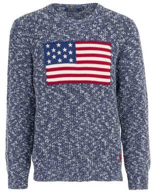 Dicker Rundhalspullover aus Baumwolle mit amerikanischer Flagge POLO RALPH LAUREN