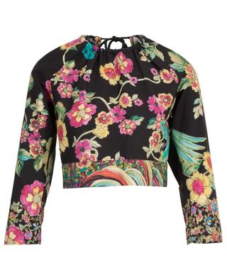 Top raccourci en coton fleuri Bird Of Paradise In The Forest RED VALENTINO
