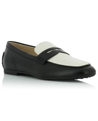 Smooth black and textured white leather loafers TOD'S