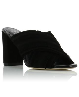 Fringed open suede loafers with heel TOD'S