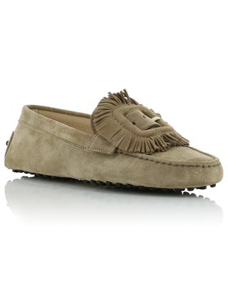 Suede loafers with fringes TOD'S