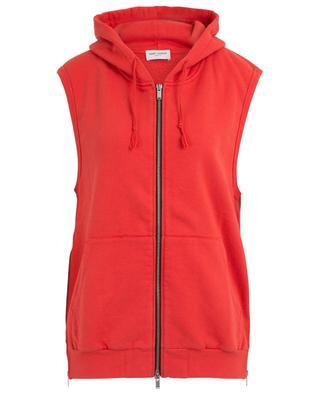 Sweat-shirt à capuche sans manches détail zip SAINT LAURENT PARIS