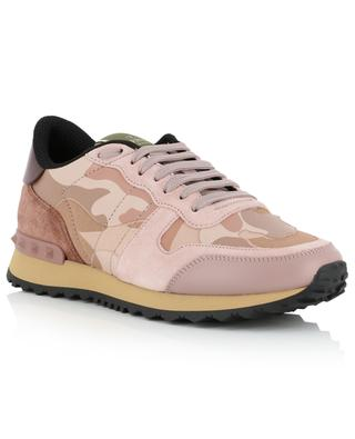 Camouflage print canvas, leather and suede sneakers VALENTINO