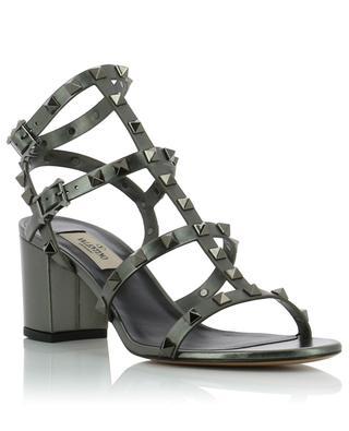Rockstud metallic leather sandals with block heels VALENTINO