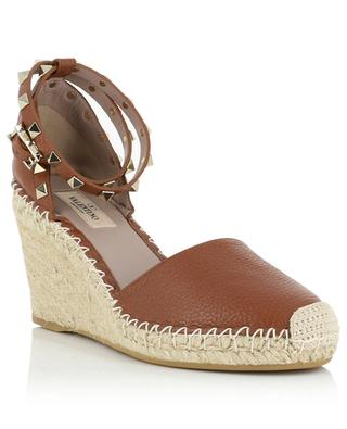 Rockstud Double grained leather wedge espadrilles VALENTINO