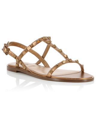Rockstud metallic leather flat sandals VALENTINO