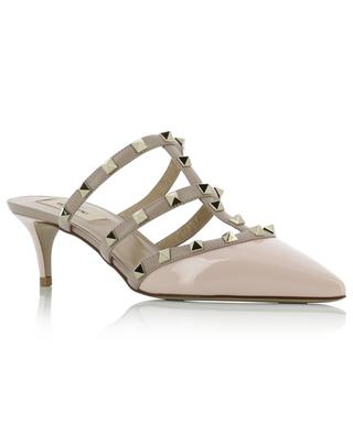 Rockstud pointy tip patent leather and nappa leather mules VALENTINO