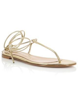 Sandales plates à lacets en cuir doré Gwyneth Flat GIANVITO ROSSI