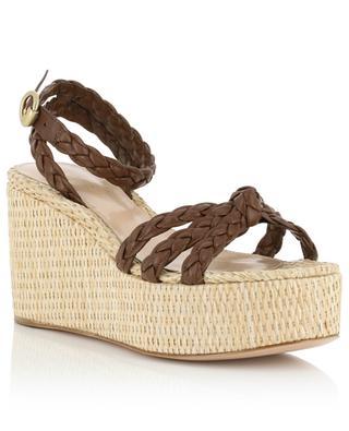 Sandales compensées en raphia et cuir tressé Kea Wedge GIANVITO ROSSI
