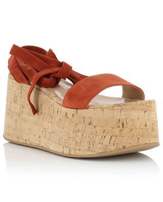 Sandales compensées à lacets en daim GIANVITO ROSSI