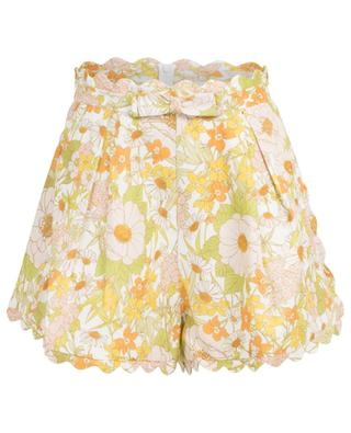 Super Eight scalloped floral print linen shorts ZIMMERMANN