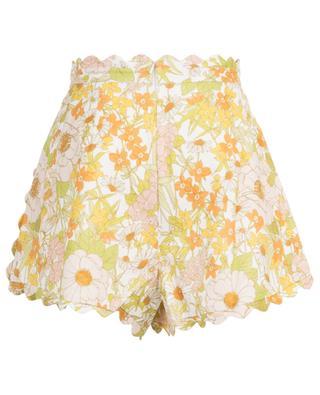 Gezackte Shorts aus Leinen mit Blumenprint Super Eight ZIMMERMANN