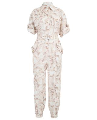 Super Eight printed belted linen boilersuit ZIMMERMANN