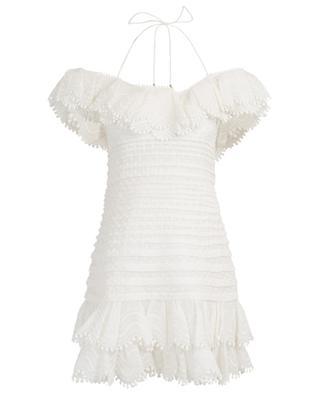 Kurzes schulterfreies Kleid aus Leinen und Seide Super Eight ZIMMERMANN