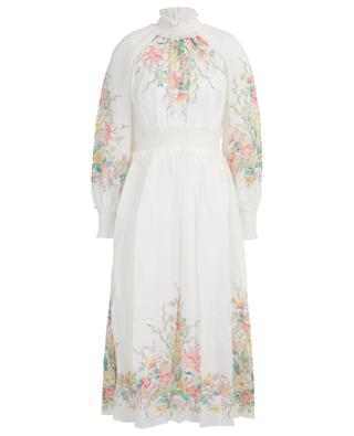 Zinnia long gathered ramie dress with floral print ZIMMERMANN