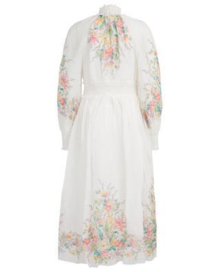 Zinnia long gathered ramie dress with floral print ZIMMERMANN