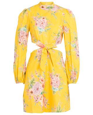 Geblümtes Kleid mit Taillenausschnitt Zinnia Bow Golden Floral ZIMMERMANN