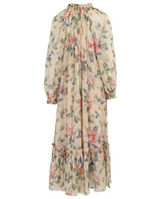 Langes Kleid aus Baumwolle und Seide in Crinkle-Optik mit Raphiagürtel Kirra ZIMMERMANN