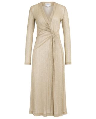 Front knot pleated Lurex midi dress GALVAN LONDON