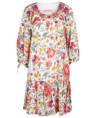 Robe trapèze courte fleurie à basque et manches bouffantes TWINSET