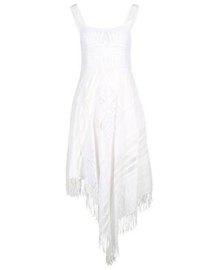 Robe midi asymétrique à bretelles embellie de dentelle TWINSET