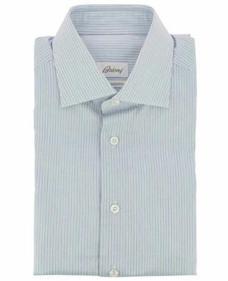 Chemise bleue en coton rayé BRIONI