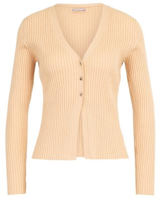 V-neck ribbed cotton and cashmere cardigan HEMISPHERE