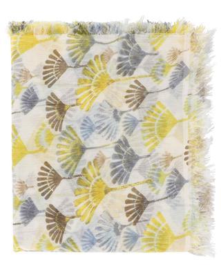 TAN-WMC lightweight leaf print scarf HEMISPHERE