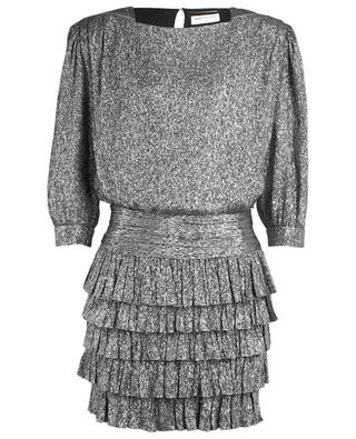 Metallic silk mini dress SAINT LAURENT PARIS