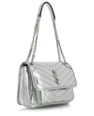 Gesteppte Handtasche aus silbernem Leder Crystal Lamé Niki Medium SAINT LAURENT PARIS