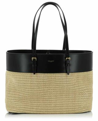 Boucle Medium raphia and smooth leather tote bag SAINT LAURENT PARIS