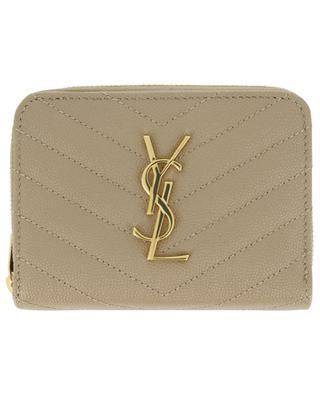 Monogram quilted gold finish compact wallet SAINT LAURENT PARIS