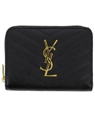Monogram quilted gold finish compact wallet SAINT LAURENT PARIS