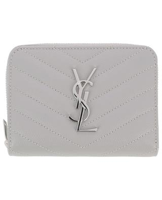 Monogram silver finish compact quilted wallet SAINT LAURENT PARIS