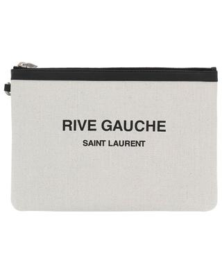 Rive Gauche linen and leather zippered pouch SAINT LAURENT PARIS