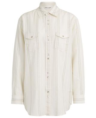 Long oversized shirt embellished with golden stripes SAINT LAURENT PARIS