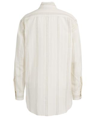 Long oversized shirt embellished with golden stripes SAINT LAURENT PARIS